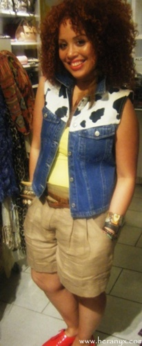 denim vest, layers, aldo accessories, employe, garden state plaza, new jersey