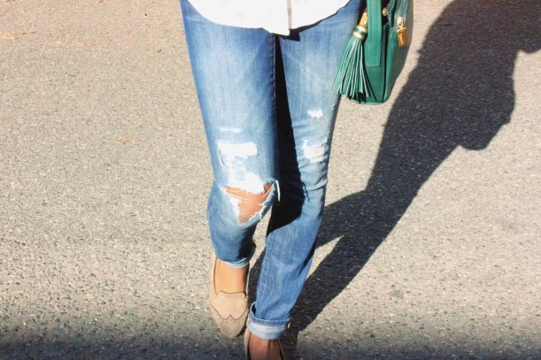 distressed always skinny jean and miz mooz wingtip flats