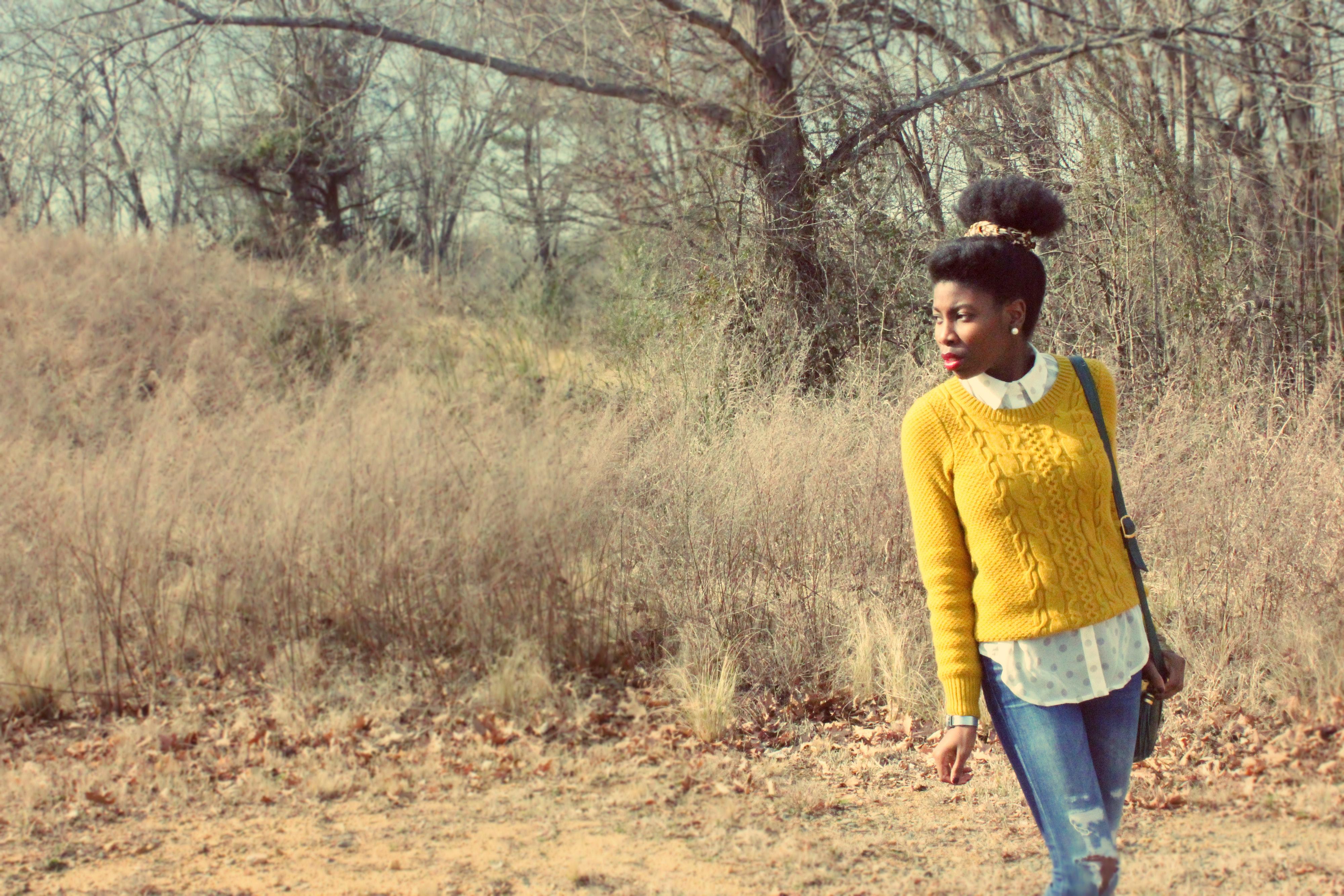Mustard Cable Knit Sweater & Polka Dots! | Hera Nyx